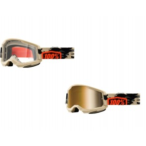 100% Strata 2 Brille Kombat Klar / Gold verspiegelt
