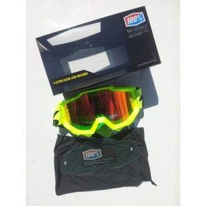 100% Accuri MX Brille Neon Gelb - Rot Verspiegelt