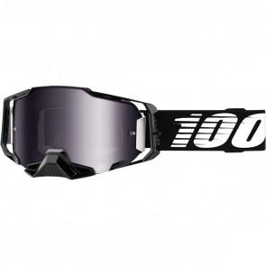 100% Armega Brille Schwarz Verspiegelt Silber