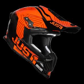Just1 Synchro Motocross Enduro Helm J12 Carbon Schwarz Orange