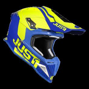 Just1 Synchro Motocross Enduro Helm J12 Carbon Neongelb Blau