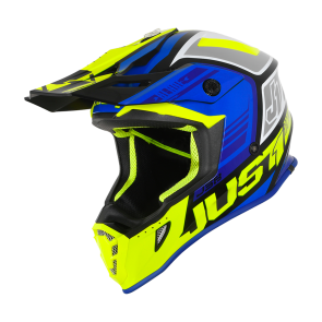 Just1 J38 Motocross Enduro Helm Blade Neongelb Schwarz Blau
