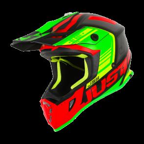 Just1 J38 Motocross Enduro Helm Blade Rot - Lime - Schwarz Matt