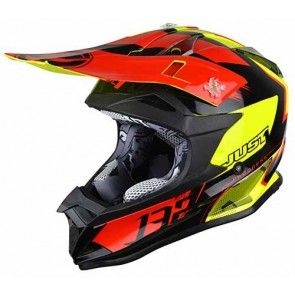 Just1 Motocross Enduro Helm J32 Pro Kick Schwarz Rot Gelb