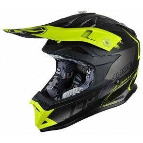 Just1 Motocross Enduro Helm J32 Pro Kick Schwarz Titan Gelb Größe L