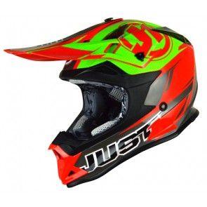 Just1 Motocross Enduro Helm J32 Pro Rave Rot - Lime