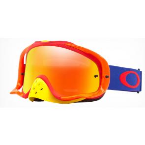 Oakley Crowbar Brille Blau Orange Rot mit Iridium Glas