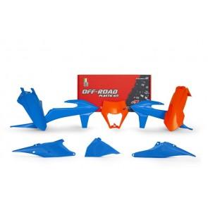 KTM Plastik Kit mit Lampenmaske Blau Orange EXC, EXC-F TPI 250, 300, 350, 450, 500 2020-