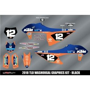 N-Style TLD KTM Team Dekor KIT Orange Blau SX SXF 125 250 350 450 2019-