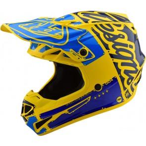 TLD Troy Lee Designs SE4 Helm Blau Gelb Größe L